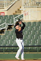 Kannapolis Intimidators first baseman Corey Zangari (25) settles under a pop fly during the game against the Augusta GreenJackets at Kannapolis Intimidators Stadium on June 21, 2019 in Kannapolis, North Carolina. The Intimidators defeated the GreenJackets 6-1. (Brian Westerholt/Four Seam Images)