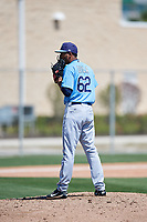 Tampa Bay Rays pitcher Jose Disla (62) during a Minor League Spring Training game against the Minnesota Twins on March 15, 2018 at CenturyLink Sports Complex in Fort Myers, Florida.  (Mike Janes/Four Seam Images)