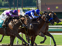 ARCADIA, CA. JUNE 17:  #6 Faypien ridden by Rafael Bejarano, edges out #9 Mopotism ridden by Mario Guitierrez and #2 Spooky Woods ridden by Flavien Prat, to win the Summertime Oaks (Grade ll) on June 17, 2017 at Santa Anita Park in Arcadia, CA. (Photo by Casey Phillips/Eclipse Sportswire/Getty Images)