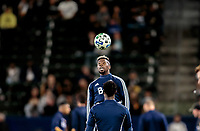 CARSON, CA - MARCH 07: Cristian Dajome #11 of the Vancouver Whitecaps warming up during a game between Vancouver Whitecaps and Los Angeles Galaxy at Dignity Health Sports Park on March 07, 2020 in Carson, California.