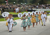 10th September 2017, Goodwood Estate, Chichester, England; Goodwood Revival Race Meeting; Grid Girls take to their positions before the race