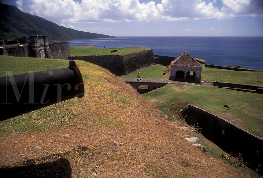 "AJ2476, Guadeloupe, fort, Caribbean, Caribbean Islands, Historic Fort St. Charles (1643) on the island of Basse-Terre in Guadeloupe (a french department) """"The Emerald Isle""""."