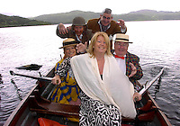 Pulling Power...Miriam Ahern, ex wife of An Taoiseach Bertie Ahern ,displays her own pulling power  at the Private Ireland  midsummer themed Victorian  Wind in the Willows Summer Party at Carrig Country House, Caragh Lake, Co. Kerry . With her on board are  Killorglin CYMS Players Carol Ann Fitzgerald, Maddy Foley, Mike Fuller and Patsy Cronin. <br /> Picture: Eamonn Keogh (MacMonagle, Killarney)