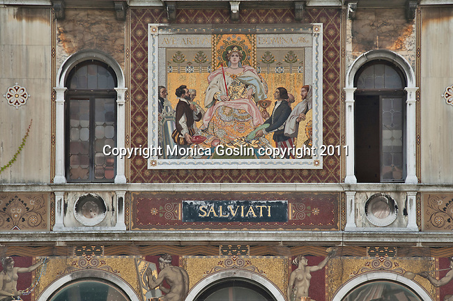 Detail of the frescos on the facade of a grand villa on the Grand Canal in Venice, Italy