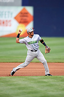 Lynchburg Hillcats third baseman Jorma Rodriguez (9) throws to first base during the second game of a doubleheader against the Frederick Keys on June 12, 2018 at Nymeo Field at Harry Grove Stadium in Frederick, Maryland.  Frederick defeated Lynchburg 8-1.  (Mike Janes/Four Seam Images)