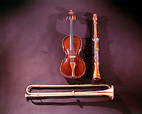 EARLY MUSICAL INSTRUMENTS<br /> Instruments<br /> Violin, Horn & Woodwind