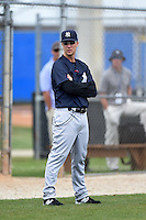 New York Yankees manager Travis Chapman (51) during practice before a minor league spring training game against the Toronto Blue Jays on March 24, 2015 at the Englebert Complex in Dunedin, Florida.  (Mike Janes/Four Seam Images)