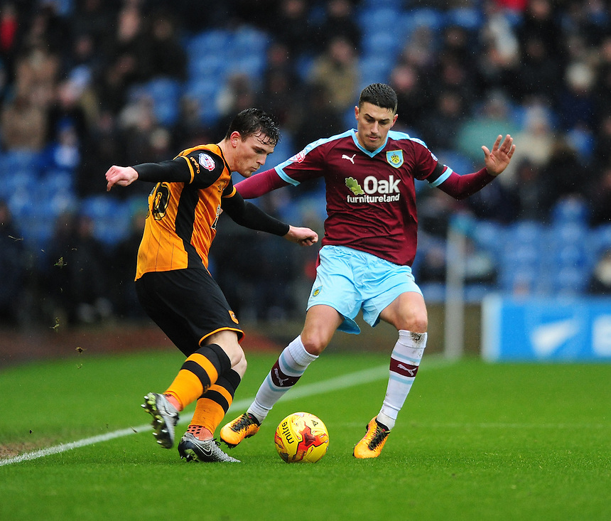 Burnley's Matthew Lowton vies for possession with Hull City's Andrew Robertson<br /> <br /> Photographer Chris Vaughan/CameraSport<br /> <br /> Football - The Football League Sky Bet Championship - Burnley v Hull City - Saturday 6th February 2016 - Turf Moor - Burnley <br /> <br /> &copy; CameraSport - 43 Linden Ave. Countesthorpe. Leicester. England. LE8 5PG - Tel: +44 (0) 116 277 4147 - admin@camerasport.com - www.camerasport.com