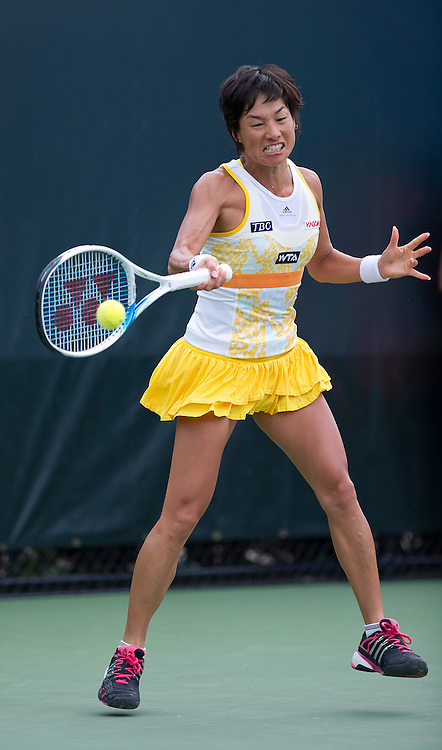 Kimiko Date-Krumm (JPN)  in action during her victory over Francoise Abanda (CAN) in their Womens Qualifying Singles Final Round match today - Kimiko Date-Krumm (JPN) def Francoise Abanda (CAN) 7-6(4) 4-6 6-4<br /> <br /> Photographer Andrew Patron<br /> <br /> Tennis - Sony Open Tennis - ATP World Tour Masters 1000 - Day 2 - Tuesday 18th March 2014 - Tennis Center at Crandon Park Key Biscayne, Miami, Florida USA<br /> <br /> &copy; CameraSport - 43 Linden Ave. Countesthorpe. Leicester. England. LE8 5PG - Tel: +44 (0) 116 277 4147 - admin@camerasport.com - www.camerasport.com