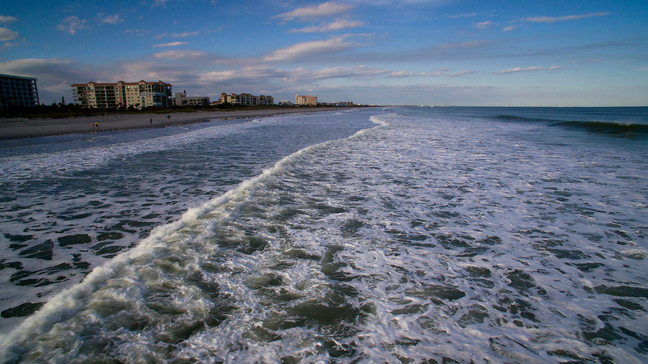 Waves from the Atlantic Ocean wash ashore on Wednesday, Jan. 17, 2018, in Cocoa Beach, Florida. (Photo by James Brosher)