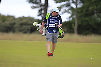 Brian caddy for Nicolas Colsaerts (BEL) on the 1st during Round 2 of the Aberdeen Standard Investments Scottish Open 2019 at The Renaissance Club, North Berwick, Scotland on Friday 12th July 2019.<br /> Picture:  Thos Caffrey / Golffile<br /> <br /> All photos usage must carry mandatory copyright credit (© Golffile | Thos Caffrey)