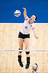 GRAND RAPIDS, MI - NOVEMBER 18: Maddie Fischer (18) of Wittenberg University spikes the ball during the Division III Women's Volleyball Championship held at Van Noord Arena on November 18, 2017 in Grand Rapids, Michigan. Claremont-M-S defeated Wittenberg 3-0 to win the National Championship. (Photo by Doug Stroud/NCAA Photos via Getty Images)