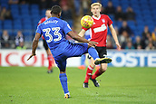 31st October 2017, Cardiff City Stadium, Cardiff, Wales; EFL Championship football, Cardiff City versus Ipswich Town; Junior Hoilett of Cardiff City shoots in the 11th minute scoring Cardiff City's first goal