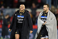 Jonathan Joseph and Michael van Vuuren of Bath Rugby after the match. Heineken Champions Cup match, between Stade Toulousain and Bath Rugby on January 20, 2019 at the Stade Ernest Wallon in Toulouse, France. Photo by: Patrick Khachfe / Onside Images