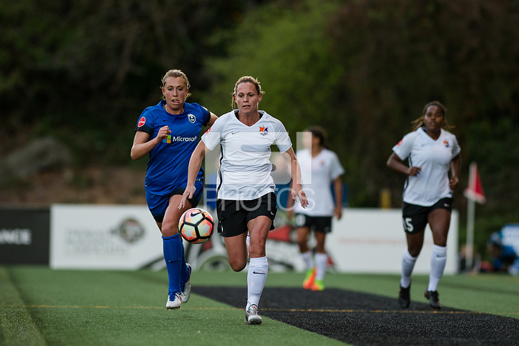 Seattle, WA - April 15th, 2017: Christie Pearce during a regular season National Women's Soccer League (NWSL) match between the Seattle Reign FC and Sky Blue FC at Memorial Stadium.