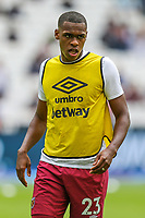 Issa Diop of West Ham United warms up ahead of the Premier League match between West Ham United and Manchester City at the London Stadium, London, England on 10 August 2019. Photo by David Horn.