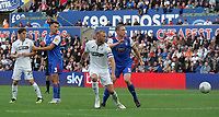 Swansea City's Oliver McBurnie turns the ball towards goal only to see it saved by Ipswich Town's Dean Gerken (Not in frame)<br /> <br /> Photographer Ian Cook - CameraSport<br /> <br /> The EFL Sky Bet Championship - Swansea City v Ipswich Town - Saturday 6th October 2018 - Liberty Stadium - Swansea<br /> <br /> World Copyright &copy; 2018 CameraSport. All rights reserved. 43 Linden Ave. Countesthorpe. Leicester. England. LE8 5PG - Tel: +44 (0) 116 277 4147 - admin@camerasport.com - www.camerasport.com