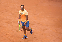 Lo spagnolo Rafael Nadal agli Internazionali d'Italia di tennis a Roma, 13 maggio 2016.<br /> Spain's Rafael Nadal reacts during the italian Open tennis in Rome, 13 May 2016.<br /> UPDATE IMAGES PRESS/Riccardo De Luca