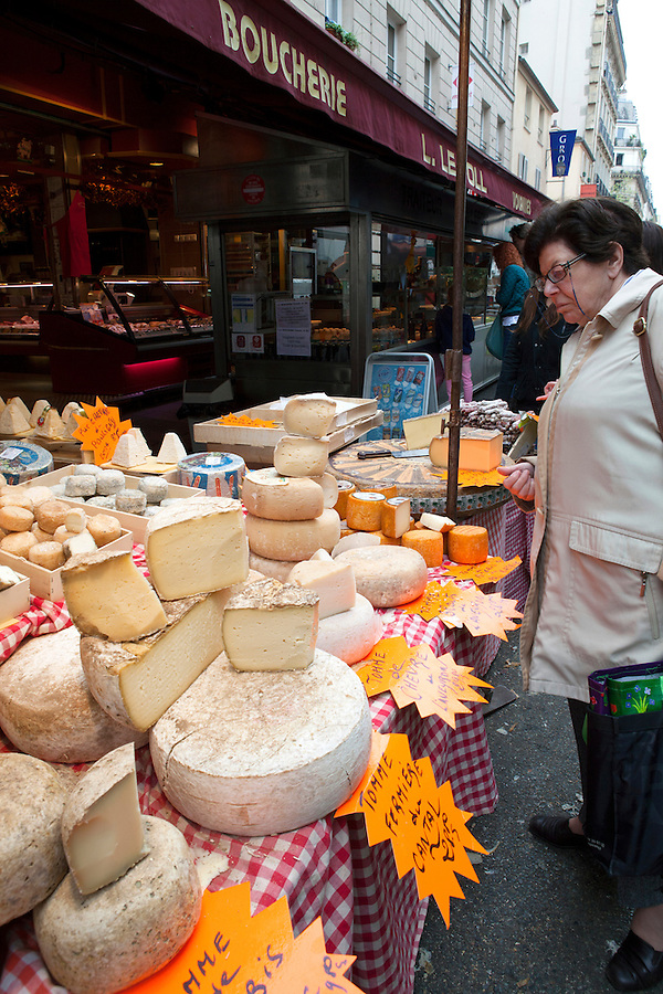 French cheese for sale at Boucherie Le Foll, cheese and meat shop on Rue de Seine, 6th arrondissement, Paris, France, Europe