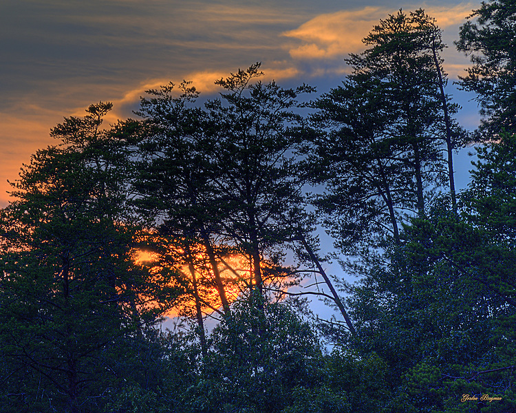 The Sun sets the sky on fire during a Smoky Mountains sunset. HDR
