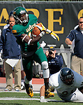 SEPTEMBER 13, 2014 -- Anthony Eboreime #18 of Black Hills State runs past fallen defender Andrew Brown #94 of South Dakota Mines during their college football game Saturday at Lyle Hare Stadium in Spearfish, S.D.  (Photo by Dick Carlson/Inertia)