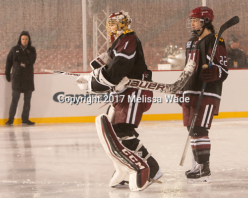 Brianna Laing (Harvard - 1), Kaitlin Tse (Harvard - 22) - The Boston College Eagles defeated the Harvard University Crimson 3-1 on Tuesday, January 10, 2017, at Fenway Park in Boston, Massachusetts.The Boston College Eagles defeated the Harvard University Crimson 3-1 on Tuesday, January 10, 2017, at Fenway Park.