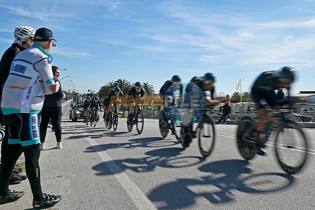 Movistar Team in action during the 1st stage of the race of the two seas, 52nd Tirreno-Adriatico by NamedSport a 22.7km Team Time Trial around Lido di Camaiore, Italy. 8th March 2017.<br /> Picture: La Presse/Fabio Ferrari | Cyclefile<br /> <br /> <br /> All photos usage must carry mandatory copyright credit (&copy; Cyclefile | La Presse)