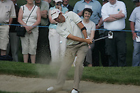 Padraig Harrington chips out of the bunker on the 7th hole and ends up in the water during the first round of the 2008 Irish Open at Adare Manor Golf Resort, Adare,Co.Limerick, Ireland 15th May 2008 (Photo by Eoin Clarke/GOLFFILE)
