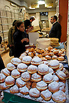 Israel, Jerusalem. Hanukkah donuts (Sufganiot) at the Jewish Orthodox Me?a She?arim quarter, 2004<br />