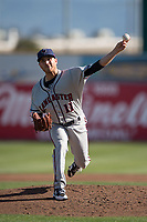 Lancaster JetHawks starting pitcher Ty Culbreth (11) delivers a pitch to the plate during a California League game against the San Jose Giants at San Jose Municipal Stadium on May 12, 2018 in San Jose, California. Lancaster defeated San Jose 7-6. (Zachary Lucy/Four Seam Images)