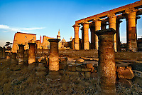 Luxor Temple at sunset, modern day Luxor or ancient Thebes, Egypt.