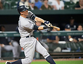 New York Yankees second baseman DJ LeMahieu (26) grounds-out in the ninth inning against the Baltimore Orioles at Oriole Park at Camden Yards in Baltimore, MD on Monday, May 20, 2019.  The Yankees won the game 10 - 7.<br /> Credit: Ron Sachs / CNP<br /> (RESTRICTION: NO New York or New Jersey Newspapers or newspapers within a 75 mile radius of New York City)