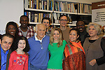 """ALL 7 Soap Opera Actors at Rehearsals for Ragtime starring One Life To Live Kerry Butler """"Claudia Reston"""" (green), Dick Latessa (Edge of Night) (blue), Matt Cavenaugh (also As The World Turns """"Adam Munson"""") (third left back), General Hospital Tyne Daly """"Caroline"""" (right), All My Children Norm Lewis """"Keith McLean"""" & now Scandal (plaid), As The World Turns Lea Salonga """"Lien Hughes"""" (multi), Young and the Restless Howard McGillan """"Snapper's brother - Greg Foster"""" (back R) and Lilla Crawford (little) and Patina Miller (L) on February 11, 2013 for a concert at Avery Fisher Hall, New York City, New York on Monday February 18, 2013. (Photo by Sue Coflin/Max Photos)"""