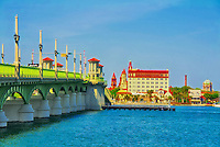 St. Augustine, Florida's beautiful Bridge of Lions on a sunny morning. In the background is the skyline of the Nation's Oldest City.