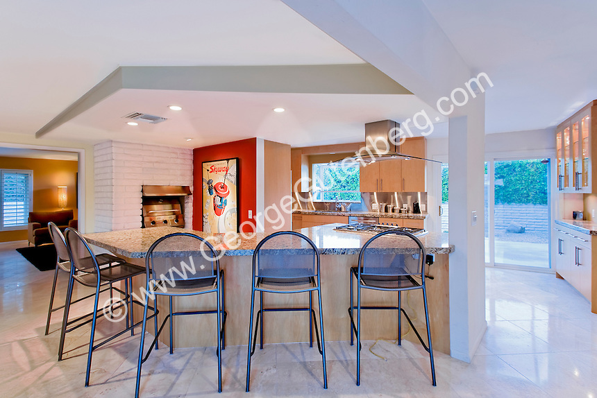 Wet bar of renovated Palm Springs mid-century modernism home Stock photo of residential dining room