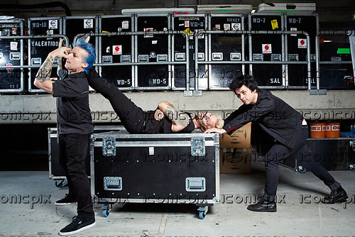 GREEN DAY - L-R: Tré Cool.Mike Dirnt, Billie Joe Armstrong - photosession backstage at the SAP Arena in Mannheim Germany - 18 Jan 2017.  Photo credit: Paul Harries/IconicPix **NOT AVAILABLE FOR UK MUSIC MAGAZINES**