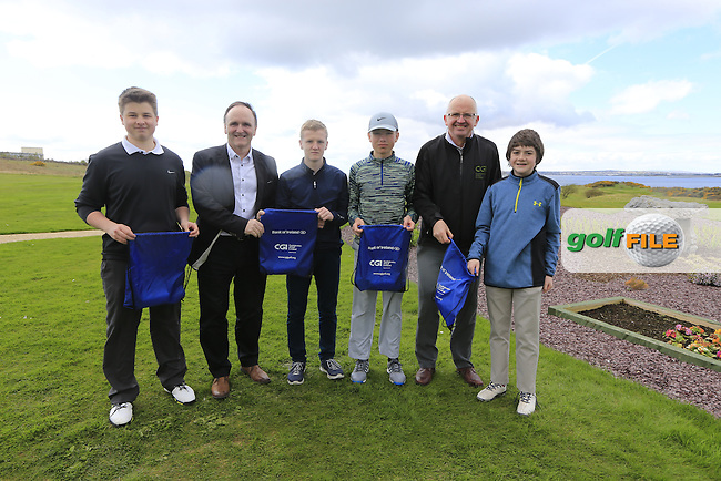 Glenlow Abbey Golf Club Boys with PJ Kavanagh from Bank of Ireland and Justin O'Byrne from CGI.<br /> Junior golfers from across connacht practicing their skills at the regional finals of the Dubai Duty Free Irish Open Skills Challenge supported by Bank of Ireland at Galway Bay golf club, Galway, Co Galway. 2/04/2016.<br /> Picture: Golffile | Fran Caffrey<br /> <br /> <br /> All photo usage must carry mandatory copyright credit (&copy; Golffile | Fran Caffrey)