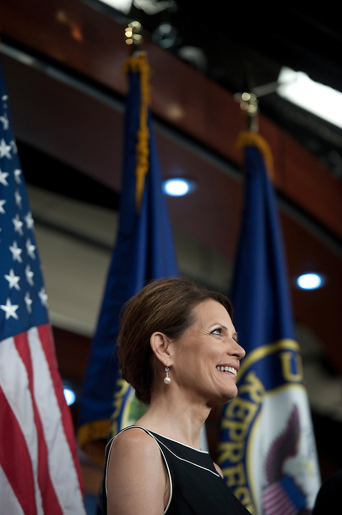 UNITED STATES - JULY 13: Michele Bachmann, R-MN., during a press conference announcing the PROMISES Act, H.R. 2496 in the U.S. Capitol on July 13, 2011. (Photo By Douglas Graham/Roll Call)