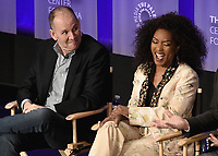 "HOLLYWOOD, CA - MARCH 17:   Tim Minear and Angela Bassett at PaleyFest 2019 - Fox's ""9-1-1"" panel at the Dolby Theatre on March 17, 2019 in Hollywood, California. (Photo by Scott Kirkland/Fox/PictureGroup)"