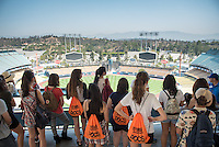 Incoming Occidental College students participate in Oxy Engage with the group L.A. Icons and get a tour of Dodger Stadium on Aug. 23, 2016. Oxy Engage is a pre-orientation program that introduces incoming students to the vibrant city of Los Angeles. Upperclassmen facilitators lead trips to experience culture, film, food, nature, social justice, the urban environment, and much more.<br /> (Photo by Marc Campos, Occidental College Photographer)