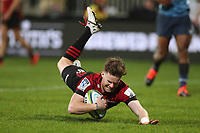 11th July 2020; Christchurch, New Zealand;  Mitchell Drummond dives over to score his try. Crusaders versus Blues in the Super Rugby Aotearoa. Orangetheory Stadium, Christchurch,