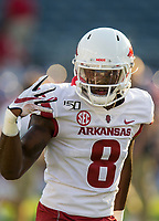 NWA Democrat-Gazette/BEN GOFF @NWABENGOFF<br /> Mike Woods, Arkansas wide receiver, dances during warmups before the game vs Ole Miss Saturday, Sept. 7, 2019, at Vaught-Hemingway Stadium in Oxford, Miss.