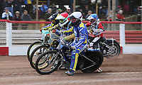 Heat 2: Charley Powell (white), Nick Laurence (red), Tom Brennan (yellow) and Ryan MacDonald (blue)<br /> <br /> Photographer Rob Newell/CameraSport<br /> <br /> National League Speedway - Lakeside Hammers v Eastbourne Eagles - Lee Richardson Memorial Trophy, First Leg - Friday 14th April 2017 - The Arena Essex Raceway - Thurrock, Essex<br /> &copy; CameraSport - 43 Linden Ave. Countesthorpe. Leicester. England. LE8 5PG - Tel: +44 (0) 116 277 4147 - admin@camerasport.com - www.camerasport.com
