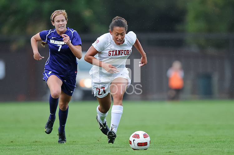 STANFORD, CA - October 17, 2010: Marjani Hing-Glover during a soccer match against Washington in Stanford, California.  Stanford won 2-1.