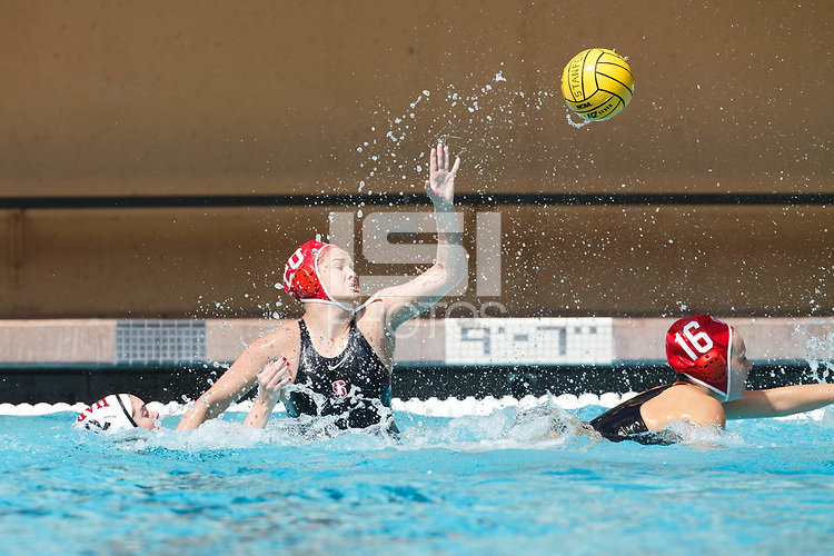 Stanford, CA - March 23, 2019: Ryann Neushul during the Stanford vs. Harvard women's water polo game at Avery Aquatic Center Saturday.<br /> <br /> The Cardinal won 20-7.