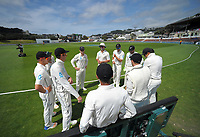 The Black Caps prepare to walk out for day four of the international cricket test between the NZ Black Caps and the West Indies at the Hawkins Basin Reserve in Wellington, New Zealand on Monday, 4 December 2017. Photo: Dave Lintott / lintottphoto.co.nz