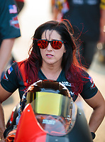 May 31, 2019; Joliet, IL, USA; NHRA pro stock motorcycle rider Angelle Sampey during qualifying for the Route 66 Nationals at Route 66 Raceway. Mandatory Credit: Mark J. Rebilas-USA TODAY Sports