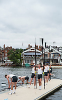 Henley-on-Thames. United Kingdom.  Deerfield Academy, return to the boating area after their heat in the Princess Elizabeth Challenge Cup at the 2017 Henley Royal Regatta, Henley Reach, River Thames. <br /> <br /> <br /> 15:20:33  Thursday  29/06/2017   <br /> <br /> [Mandatory Credit. Peter SPURRIER/Intersport Images.