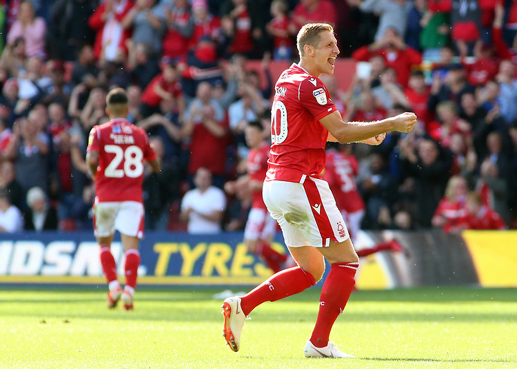 Nottingham Forest's Michael Dawson celebrates after Albert Adomah makes it 1-1<br /> <br /> Photographer David Shipman/CameraSport<br /> <br /> The EFL Sky Bet Championship - Nottingham Forest v Preston North End - Saturday 31st August 2019 - The City Ground - Nottingham<br /> <br /> World Copyright © 2019 CameraSport. All rights reserved. 43 Linden Ave. Countesthorpe. Leicester. England. LE8 5PG - Tel: +44 (0) 116 277 4147 - admin@camerasport.com - www.camerasport.com