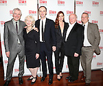 (L-R) Playwright John Patrick Shanley, actress Dearbhla Molloy, actor Brian F. O'Byrne, actress Debra Messing, actor Peter Maloney, and director Doug Hughes attend the 'Outside Mullinger' Broadway opening night after party at The Copacabana on January 23, 2014 in New York City.